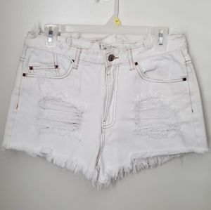 FOREVER 21 white Distressed Shorts